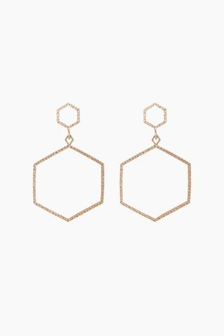 "LUV AJ The Hammered Hex Statement Earrings - Rose Gold Jewelry | Rose Gold| Luv Aj The Hammered Hex Statement Earrings - Rose Gold Open metal hexagon-shaped hoops with hammered texture detail  Posts are made from surgical steel so they are very hypo-allergenic Hoops are Approx. 3.5"" tall Made from Brass Plated in Rose Gold Front View"