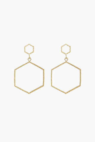 "LUV AJ The Hammered Hex Statement Drop Earrings - Gold Jewelry | Gold| Luv Aj The Hammered Hex Statement Earrings - Gold Open metal hexagon-shaped hoops with hammered texture detail  Posts are made from surgical steel so they are very hypo-allergenic Hoops are Approx. 3.5"" tall Made from Brass Plated in Gold Front View"