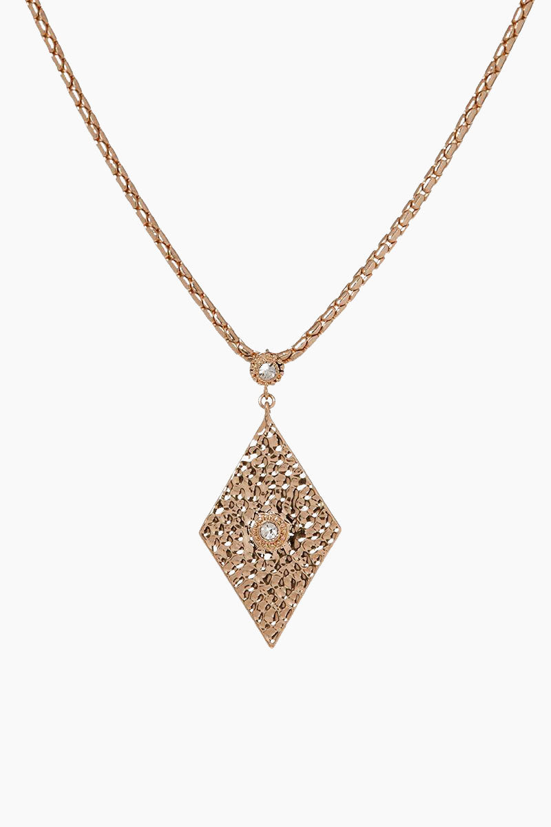 """LUV AJ The Hammered Triangle Charm Necklace - Rose Gold Jewelry 