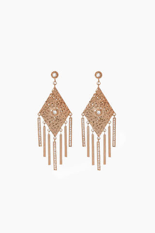 "LUV AJ The Hammered Triangle Fringe Earrings - Rose Gold Jewelry | Rose Gold| Luv Aj The Hammered Triangle Fringe Earrings - Rose Gold. Features:  Pair of hammered triangle earrings with hanging pave bars Posts are made from surgical steel so they are very hypo-allergenic Hoops are 3.5"" tall Made from Brass and Swarovski Crystals Plated in Rose Gold Front View"