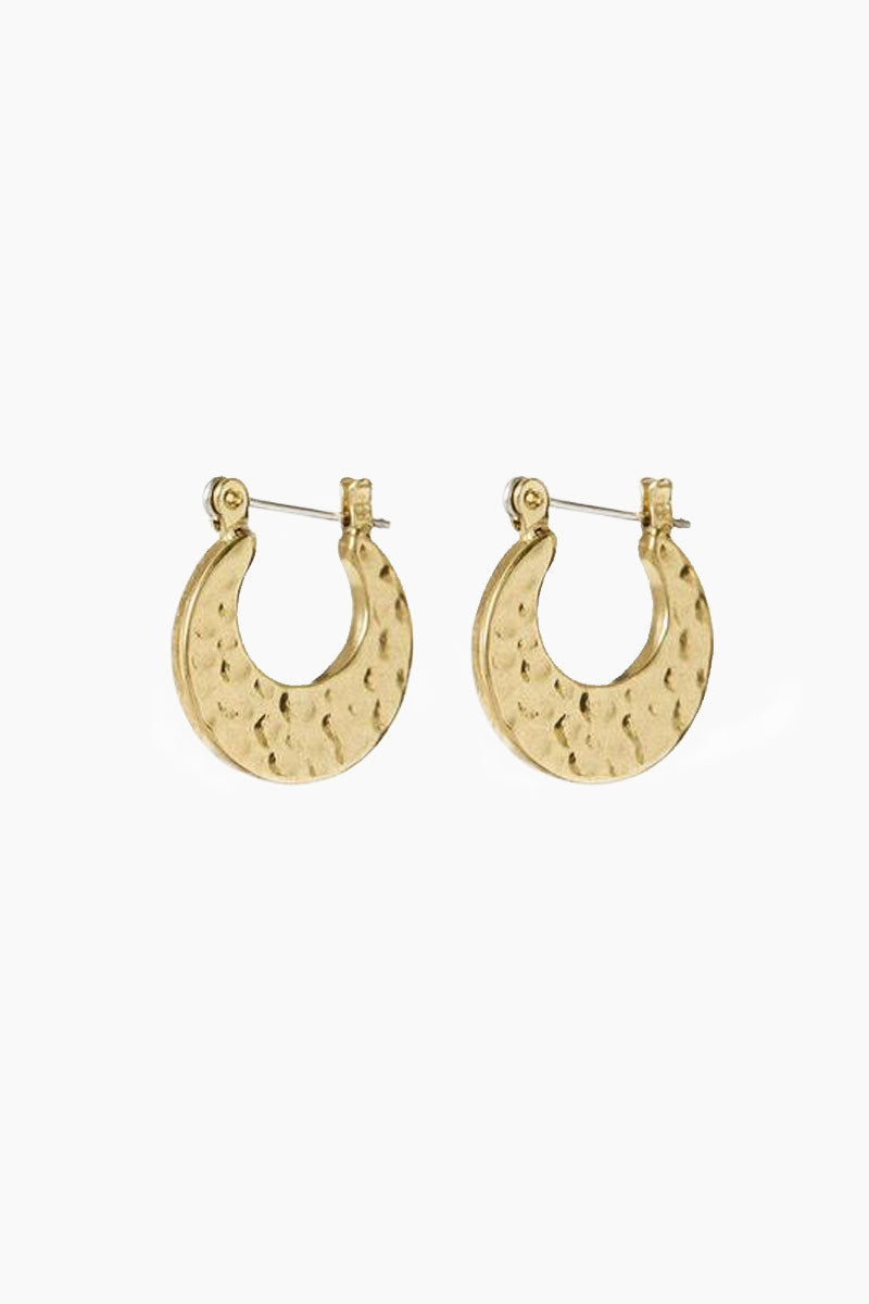 """LUV AJ The Mini Hammered Sheet Hoops - Gold Jewelry 