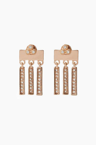 LUV AJ The Moroccan Dangle Stud Drop Earrings - Rose Gold Jewelry | Rose Gold| Luv Aj The Moroccan Dangle Studs - Rose Gold. Features:  Pair of stud earrings with a backplate that sits behind the earlobe with dangling pave bars Studs sit in front, pave bars hang behind the ear Charms in the back are 9mm long  Posts are made from surgical steel so they are very hypo-allergenic Made from Brass and Swarovski Crystals  Plated in Rose Gold Front View