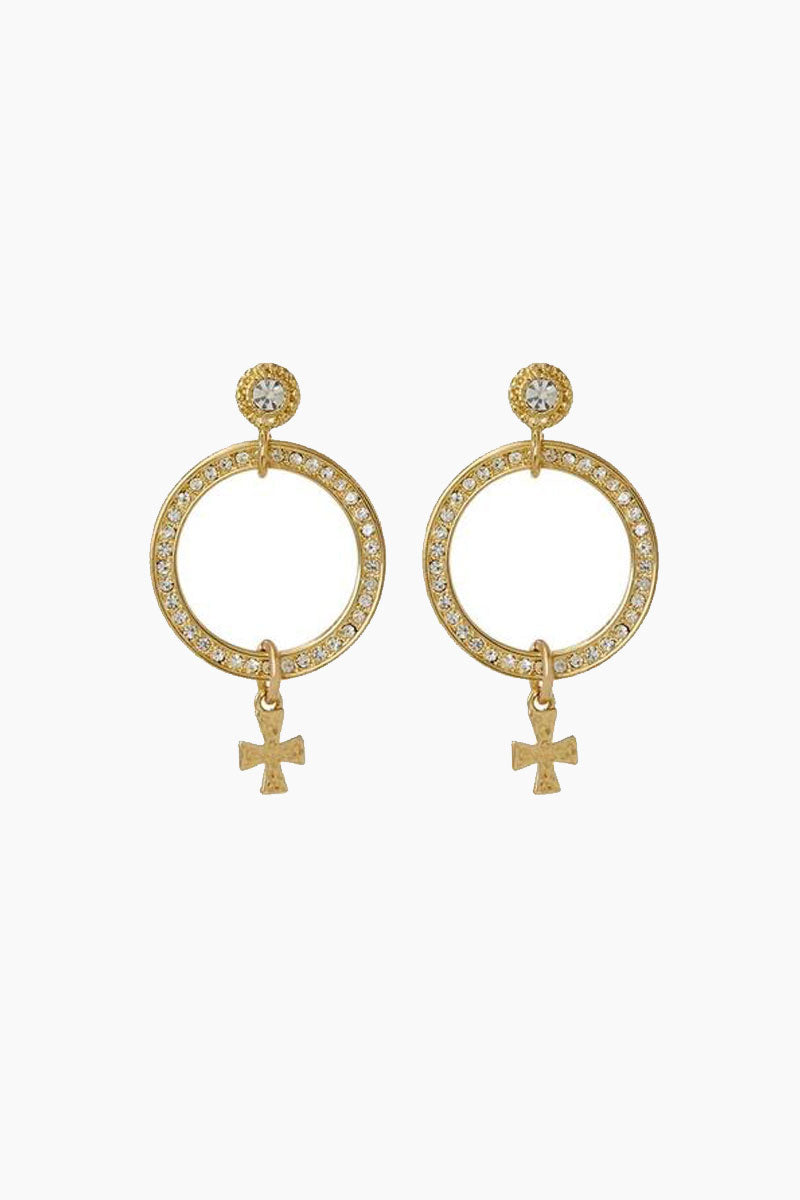 LUV AJ The Moroccan Pave Loop Studs - Gold Jewelry | Gold| Luv Aj The Moroccan Pave Loop Studs - Gold. Features:  Pair of circular pave loop studs with hanging cross charm detail Posts are made from surgical steel so they are very hypo-allergenic Made from Brass and Swarvoski Crystals  Plated in Gold Front View
