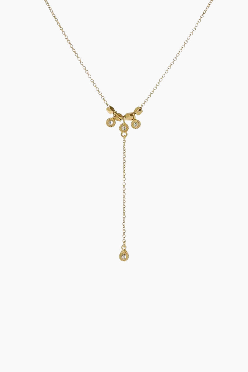 "LUV AJ The Moroccan Stud Lariat Necklace - Gold Jewelry | Gold| Luv Aj The Moroccan Stud Lariat - Gold. Features:  Lariat necklace with pave Moroccan stud detail Lariat is 14"" long with 2"" drop Has 3"" Extender chain for adjustability  Made from Brass and Swarovski Crystals Plated in Gold Front View"
