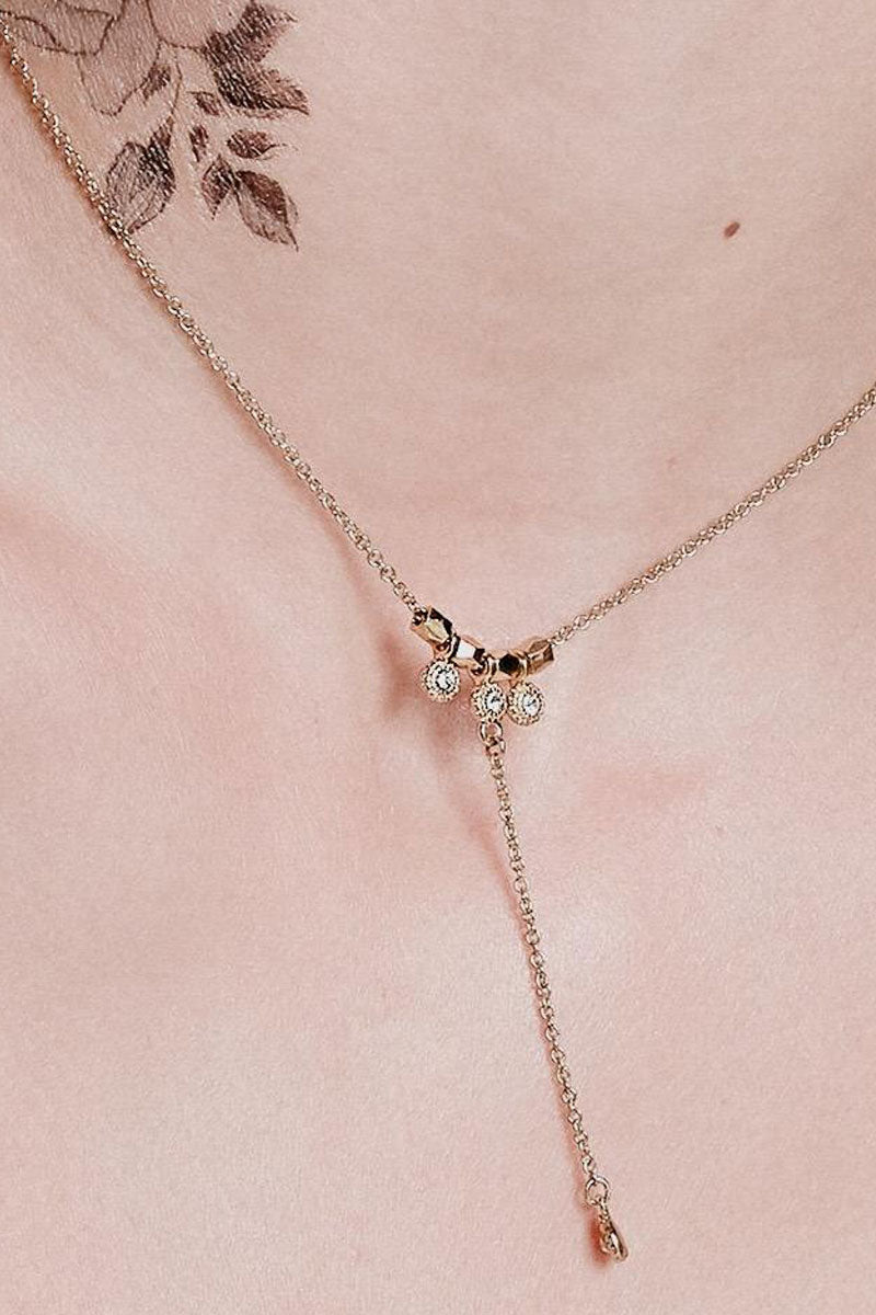 """LUV AJ The Moroccan Stud Lariat Necklace - Rose Gold Jewelry 