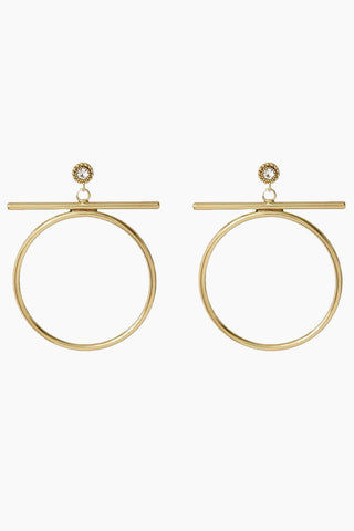 "LUV AJ The Moroccan Stud Statement Hoops - Gold Jewelry |  Gold| Luv Aj The Moroccan Stud Statement Hoops - Gold. Features:  Statement Hoops with a bar and Moroccan stud detail Posts are made from surgical steel so they are very hypo-allergenic Hoops are Approx. 2.5"" tall Made from Brass and Swarovski Crystals Plated in Gold Front View"