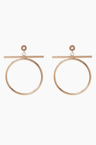"LUV AJ The Moroccan Stud Statement Hoops - Rose Gold Jewelry | Rose Gold| Luv Aj The Moroccan Stud Statement Hoops - Rose Gold. Features:  Statement Hoops with a bar and Moroccan stud detail Posts are made from surgical steel so they are very hypo-allergenic Hoops are Approx. 2.5"" tall Made from Brass and Swarovski Crystals Plated in Rose Gold Front View"