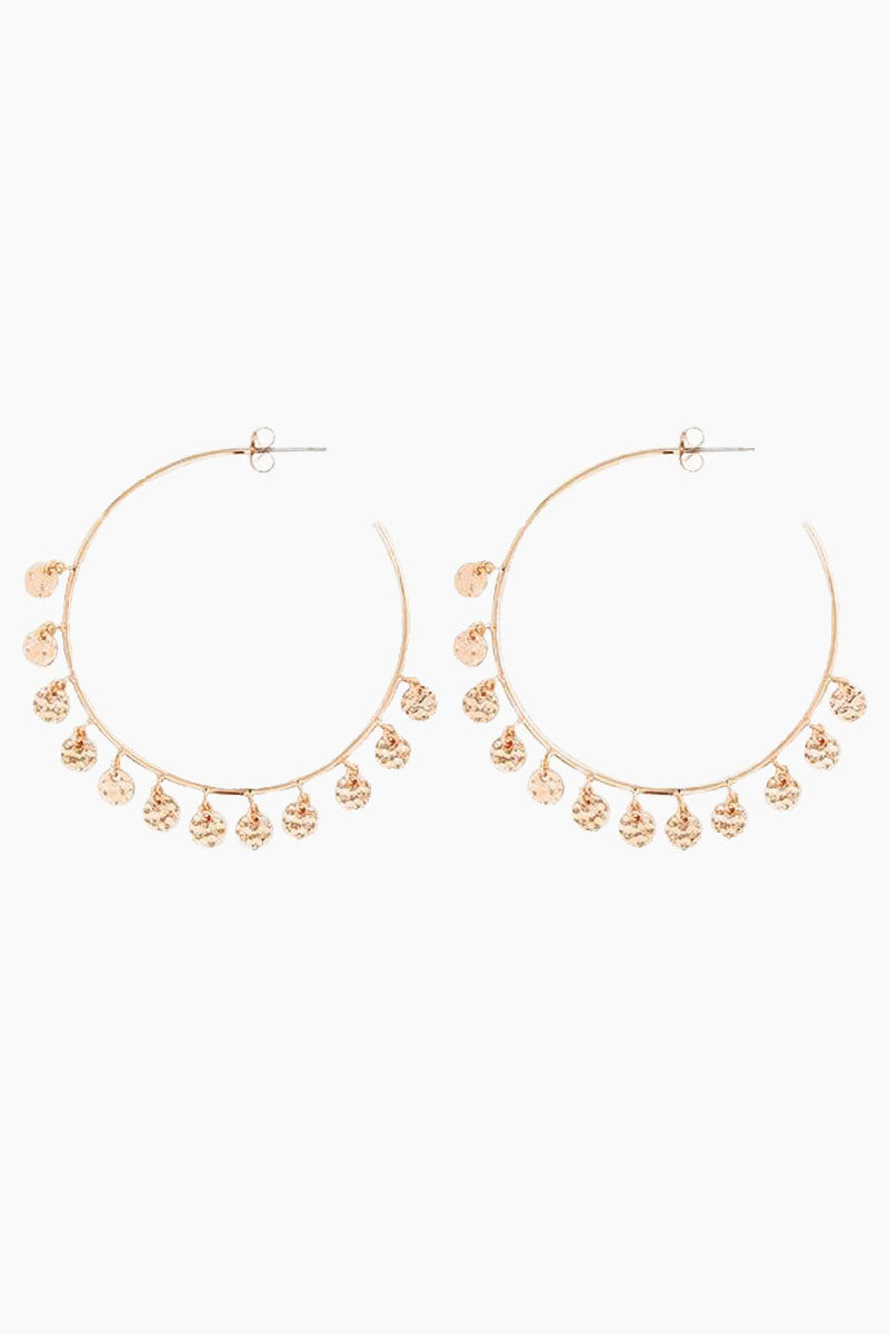 """LUV AJ The Hammered Disc Hoops - Rose Gold Jewelry 