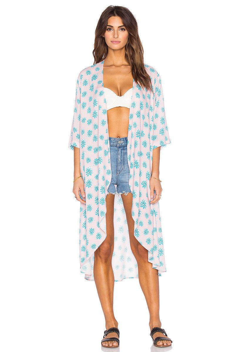 TORI PRAVER Toluca Kimono Cover Up | Wild Agave Ginger| Tori Praver Toluca Kimono Front View