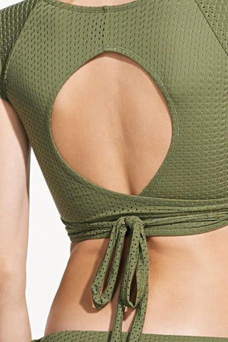 ROSA CHA Transpasse Crop Wrap Bikini Top - Olive Green Bikini Top | Olive Green| Rosa Cha Transpasse Crop Wrap Bikini Top - Olive Green  V Neckline  Short Sleeves Wrap Style Back Cut Out Detail Perforated Lycra  88% Viscose 12% Polyamide / Lining: 84% Polyamide 16% Elastane Back View
