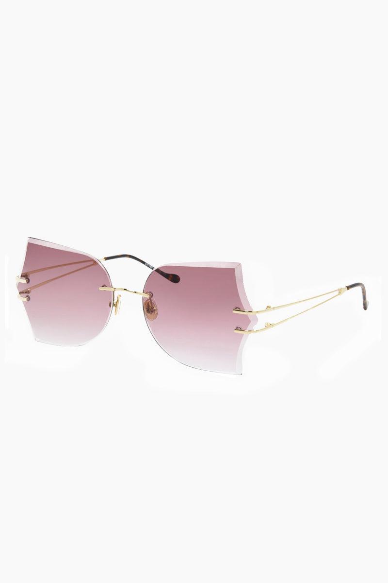 I-SEA Tallulah Sunglasses - Gold/Rose Sunglasses | Gold/Rose| I-Sea Tallulah Sunglasses - Gold/Rose Oversized Sunglasses Frame Color: Gold Lens Color: Rose   Adjustable Nose Pads 100% UV / UVB Protection Side view