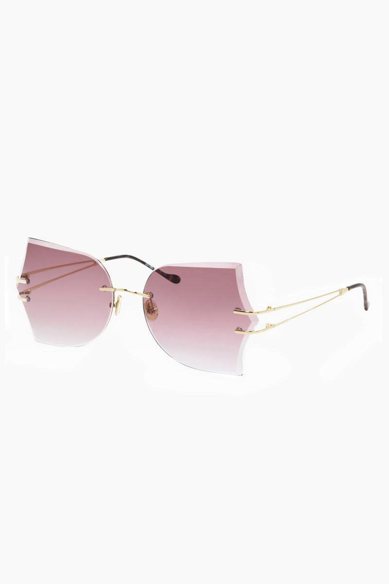 I-SEA Tallulah Sunglasses - Gold/Rose Sunglasses | Gold/Rose| I-Sea Tallulah Sunglasses - Gold/Rose Oversized Sunglasses Frame Color: Gold Lens Color: Rose   Adjustable Nose Pads 100% UV / UVB Protection Side view