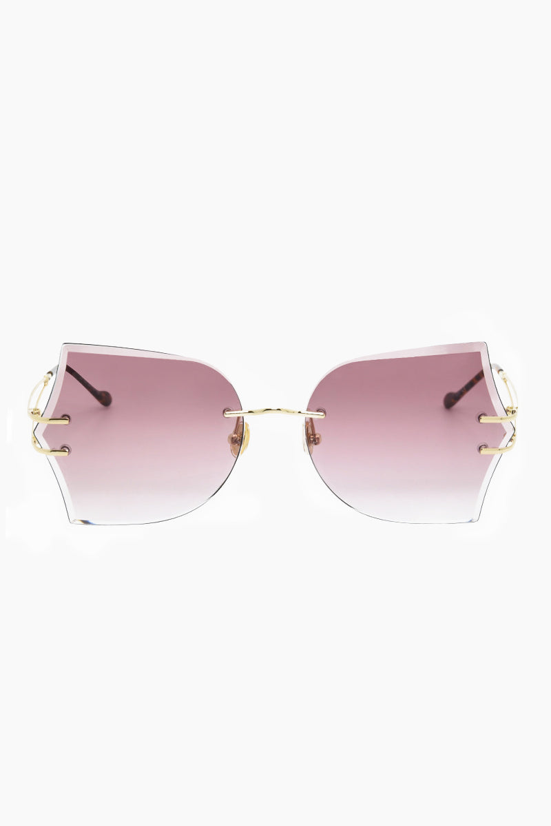 I-SEA Tallulah Sunglasses - Gold/Rose Sunglasses | Gold/Rose| I-Sea Tallulah Sunglasses - Gold/Rose Oversized Sunglasses Frame Color: Gold Lens Color: Rose   Adjustable Nose Pads 100% UV / UVB Protection Front view