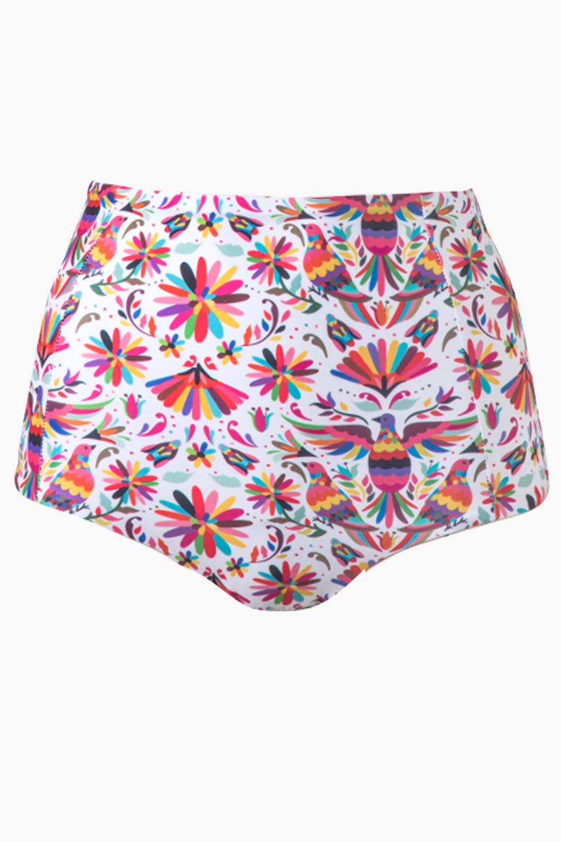 VERDELIMON Banes High Waisted Bikini Bottom - Rainbow Tapiz Print Bikini Bottom | Rainbow Tapiz Print| Verdelimon Banes High Waisted Bikini Bottom - Rainbow Tapiz Print lirty high-waisted cheeky bikini bottom in multicolor print. The classic white fabric is offset by a vibrant multicolor abstract bird and flower print for ultra-feminine vibes. The high-waisted Front View