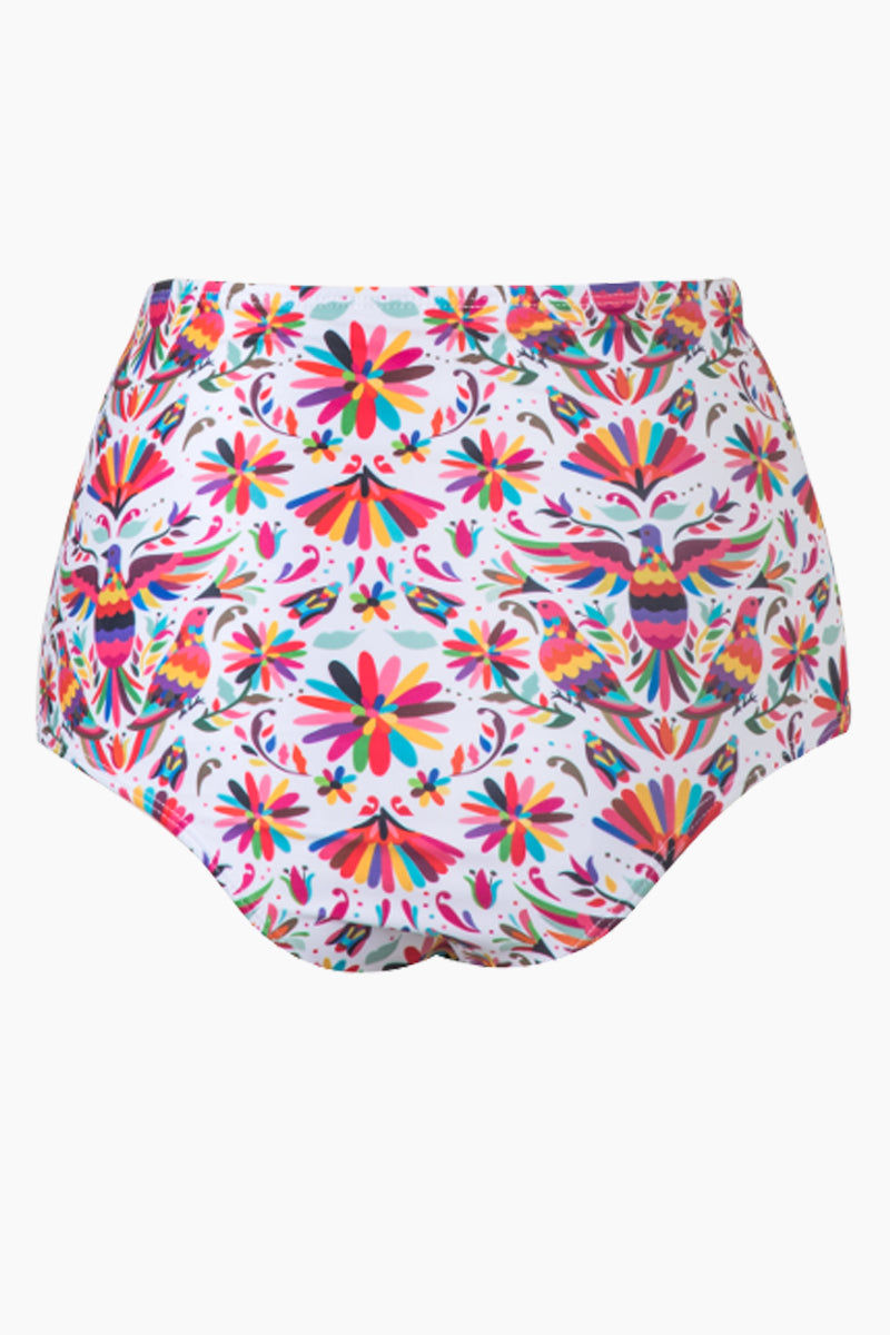 VERDELIMON Banes High Waisted Bikini Bottom - Rainbow Tapiz Print Bikini Bottom | Rainbow Tapiz Print| Verdelimon Banes High Waisted Bikini Bottom - Rainbow Tapiz Print lirty high-waisted cheeky bikini bottom in multicolor print. The classic white fabric is offset by a vibrant multicolor abstract bird and flower print for ultra-feminine vibes. The high-waisted Back View