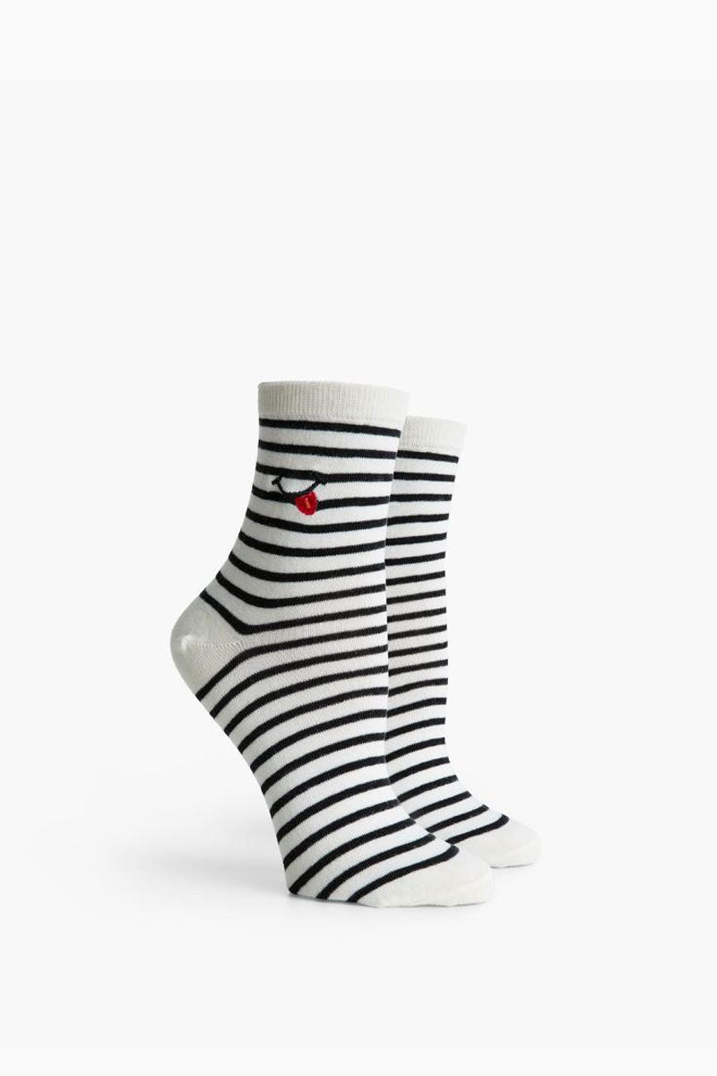 RICHER POORER Tasty Ankle Socks - Black & Ivory Accessories |  Black & Ivory| Richer Poorer Tasty Ankle Socks - Black & Ivory. Features: Anklet styling Lightweight Silver Lining Blend - a quality combed cotton blended with silver fibers for naturally occurring antimicrobial properties to help keep feet fresh and comfortable Arch support Reinforced toe and heel construction Front View