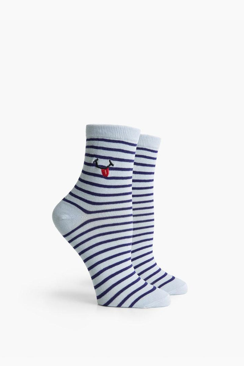 RICHER POORER Tasty Ankle Socks - Blue Multi Accessories | Blue Multi| Richer Poorer Tasty Ankle Socks - Blue Multi. Features: Anklet styling Lightweight Silver Lining Blend - a quality combed cotton blended with silver fibers for naturally occurring antimicrobial properties to help keep feet fresh and comfortable Arch support Reinforced toe and heel construction Content:  Combed Cotton, Polyester, Nylon, Spandex. Wash warm, tumble dry low. Repeat. Imported. Front View