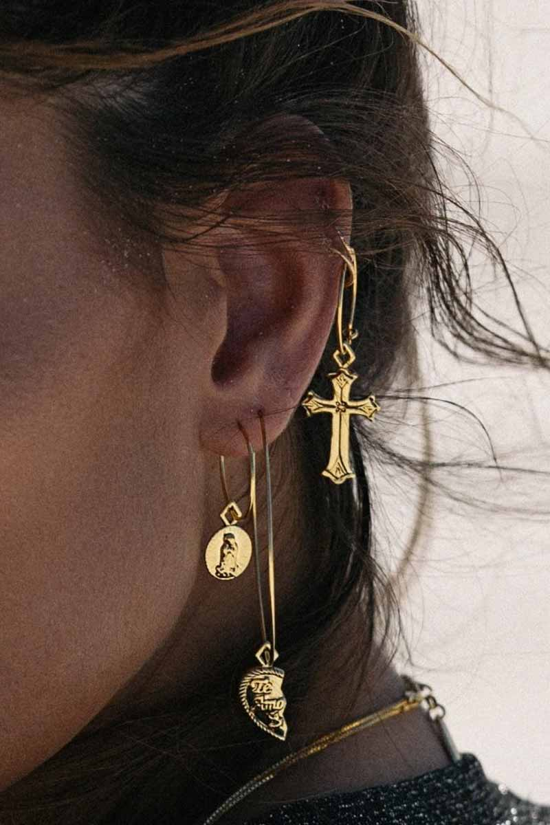 """LUV AJ Te Amo Hoop Earrings - Gold Jewelry 