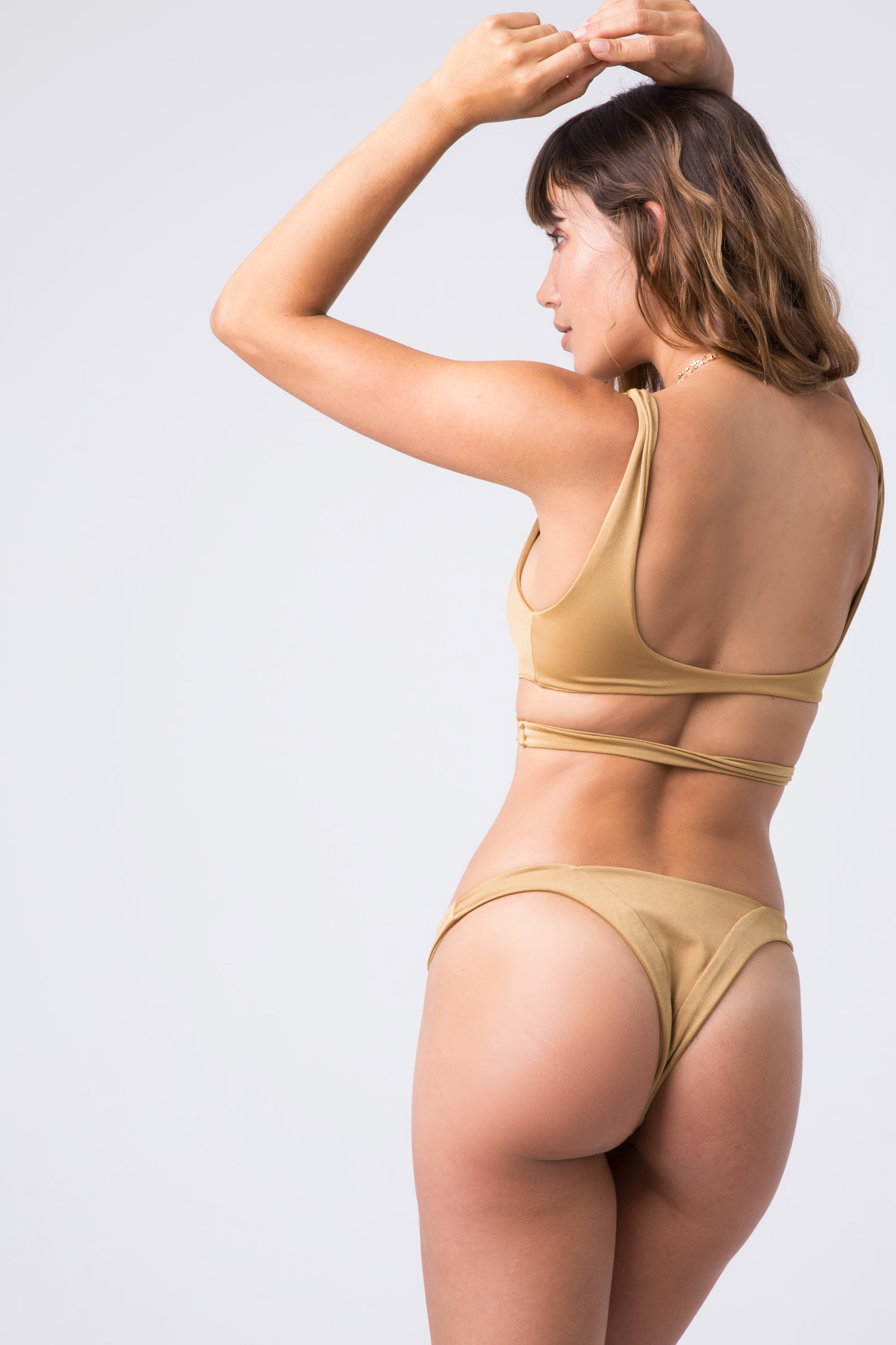 INDAH Tenille Banded Bottom - Cairo Bikini Bottom | Cairo| Indah Tenille Banded Bottom - Cairo Back View Mid Rise Bottom Solid Band High Cut Leg Skimpy Coverage Italian Shiny Lycra