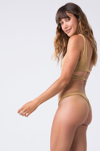 INDAH Tenille Banded Bottom - Cairo Bikini Bottom | Cairo| Indah Tenille Banded Bottom - Cairo Side View Mid Rise Bottom Solid Band High Cut Leg Skimpy Coverage Italian Shiny Lycra