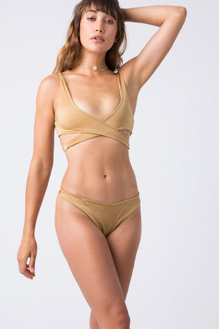 INDAH Tenille Banded Bottom - Cairo Bikini Bottom | Cairo| Indah Tenille Banded Bottom - Cairo Front View Mid Rise Bottom Solid Band High Cut Leg Skimpy Coverage Italian Shiny Lycra