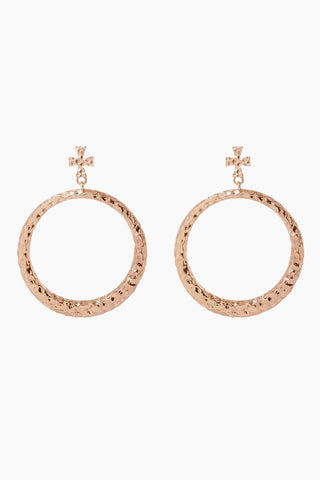"LUV AJ The Hammered Cross Hoops - Rose Gold Jewelry | Rose Gold| Luv Aj The Hammered Cross Hoops - Rose Gold. Features:  Pair of statement hoops with hammered texture and cross stud Posts are made from surgical steel so they are very hypo-allergenic Hoops are Approx. 3"" Tall Made from Brass Plated in Rose Gold Front View"
