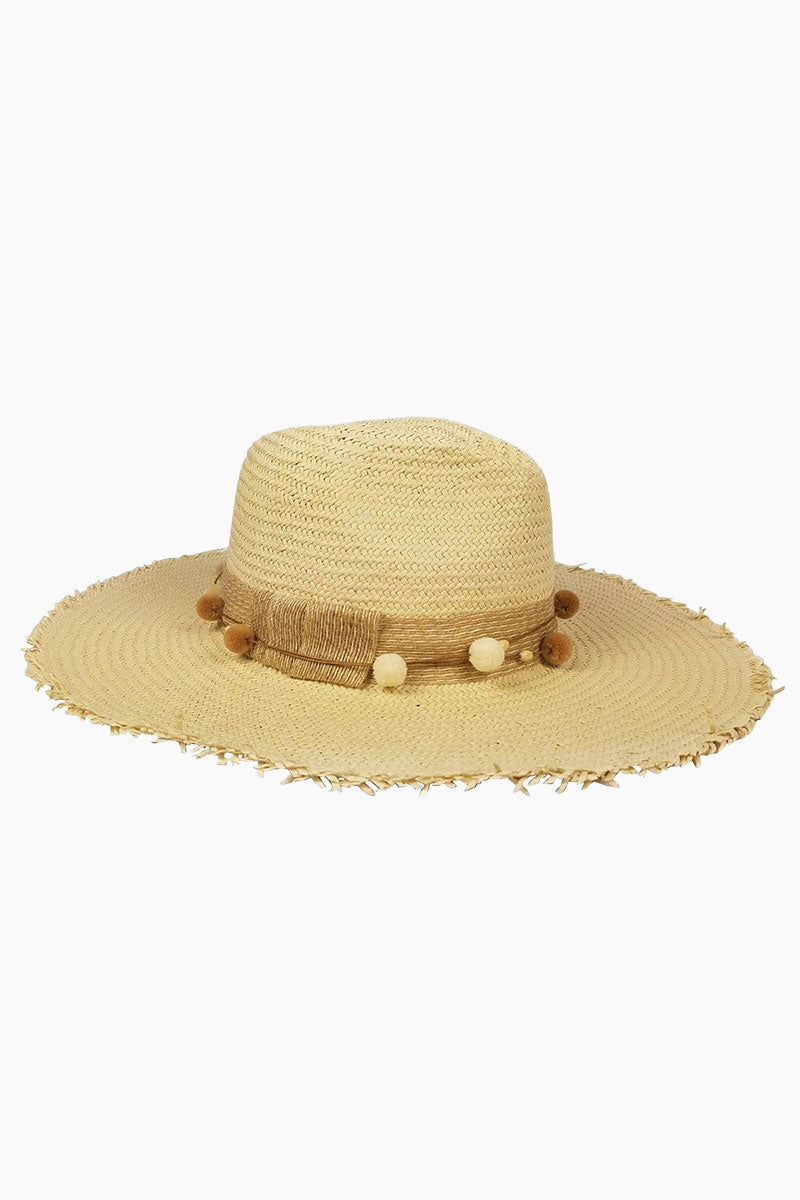 HAT ATTACK The Harbor Raffia Fringed Sun Hat - Natural Hat | Natural| Hat Attack The Harbor Fringed Hat - Natural Features:  Lightweight floppy hat Decorative hatband with bow and pom pom detailing Raffia Spot clean Front View