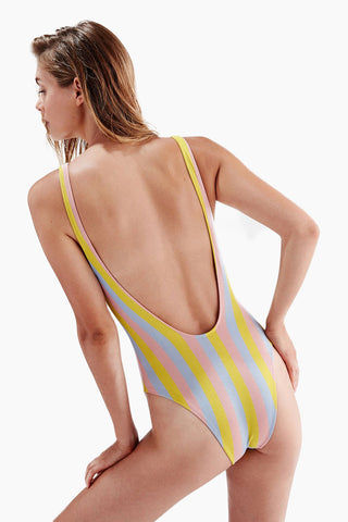 SOLID & STRIPED The Michelle Plunging V One Piece Swimsuit - Maui Shimmer One Piece | Maui Shimmer| Solid & Striped The Michelle Plunging V One Piece Swimsuit - Maui Shimmer, FEATURES:  Plunging V Neckline  Plunging V Back  High Cut Leg Cheeky Coverage Lurex fabric Made in Morocco Shell: 83% polyester, 17% elastane Lining: 85% polyamide, 15% elastane Care instructions: hand wash in cold water, do not tumble dry
