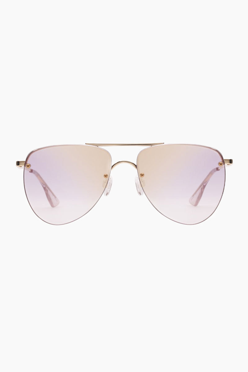 LE SPECS The Prince Sunglasses - Gold Sunglasses | Gold|The Prince - Le Specs Modern Update to Classic Aviator Sunglasses Base Flat Lenses Fashion Wear Adjustable Nose Pads  Spring Hinges Frame:  Gold Lens: Lilac Grad Gold Flash  Gender: Women Lens Width - Nose Bridge - Temple Length      57                  15                    145