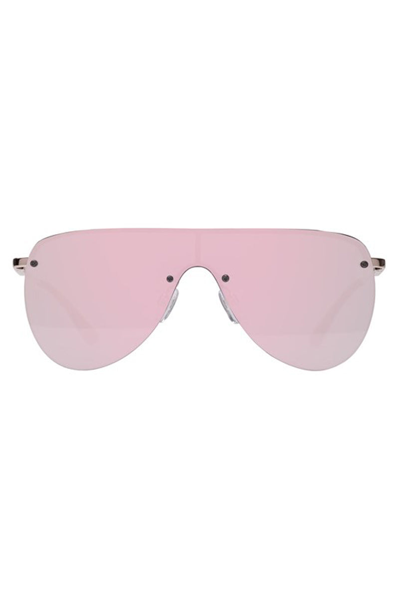 LE SPECS The King Sunglasses - Rose Gold Sunglasses   Rose Gold  Le Specs The King Sunglasses - Rose Gold Rose gold women's single shield aviator sunglasses. Front View