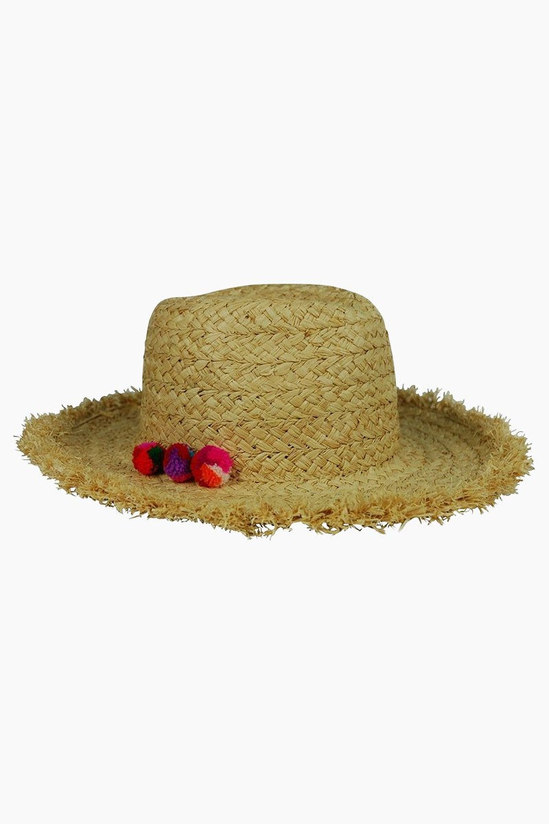 HAT ATTACK Thick Braid Fringed Rancher Hat - Natural/Multi Hat | Natural/Multi| Hat Attack Thick Braid Fringed Rancher Hat - Natural/Multi Features:  Lightweight with thick braid fringed detail Mini pom pom detailing Raffia Spot clean Front View