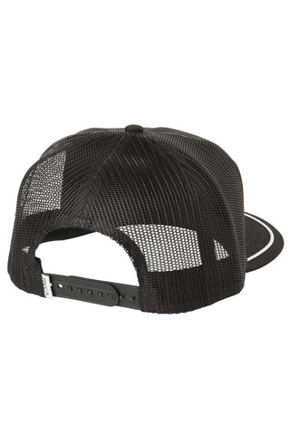 RVCA Title Trucker Hat - Black Hat | Black| RVCA Title Trucker Hat - Black	Womens trucker hat Logo screen print at center front Stitching detail around bill 5-panel Mesh back Adjustable snap back Curved bill 57% polyester, 43% cotton Back View