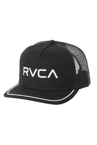 RVCA Title Trucker Hat - Black Hat | Black| RVCA Title Trucker Hat - Black	Womens trucker hat Logo screen print at center front Stitching detail around bill 5-panel Mesh back Adjustable snap back Curved bill 57% polyester, 43% cotton Front View