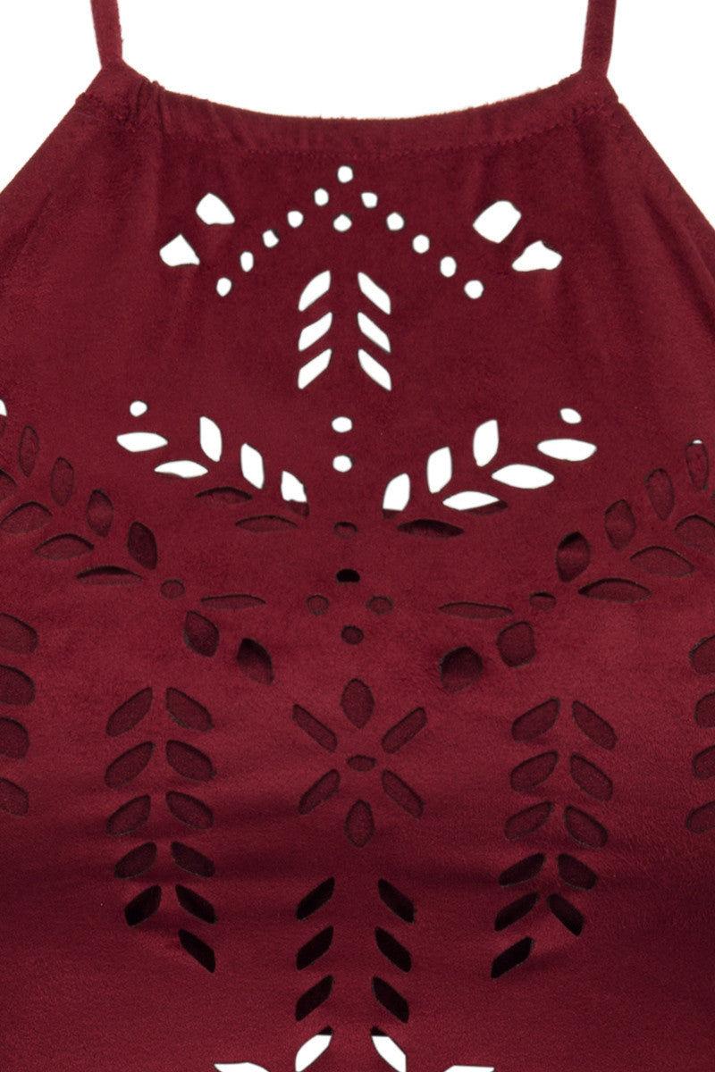 ALE Holy Cow Fringe Crop Top Bikini Top | Burgundy|