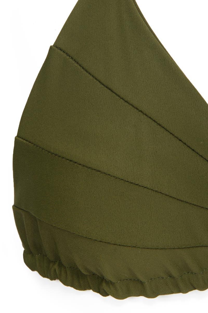 STONE FOX SWIM Shell Halter Triangle Bikini Top - Olive Bikini Top   Olive 