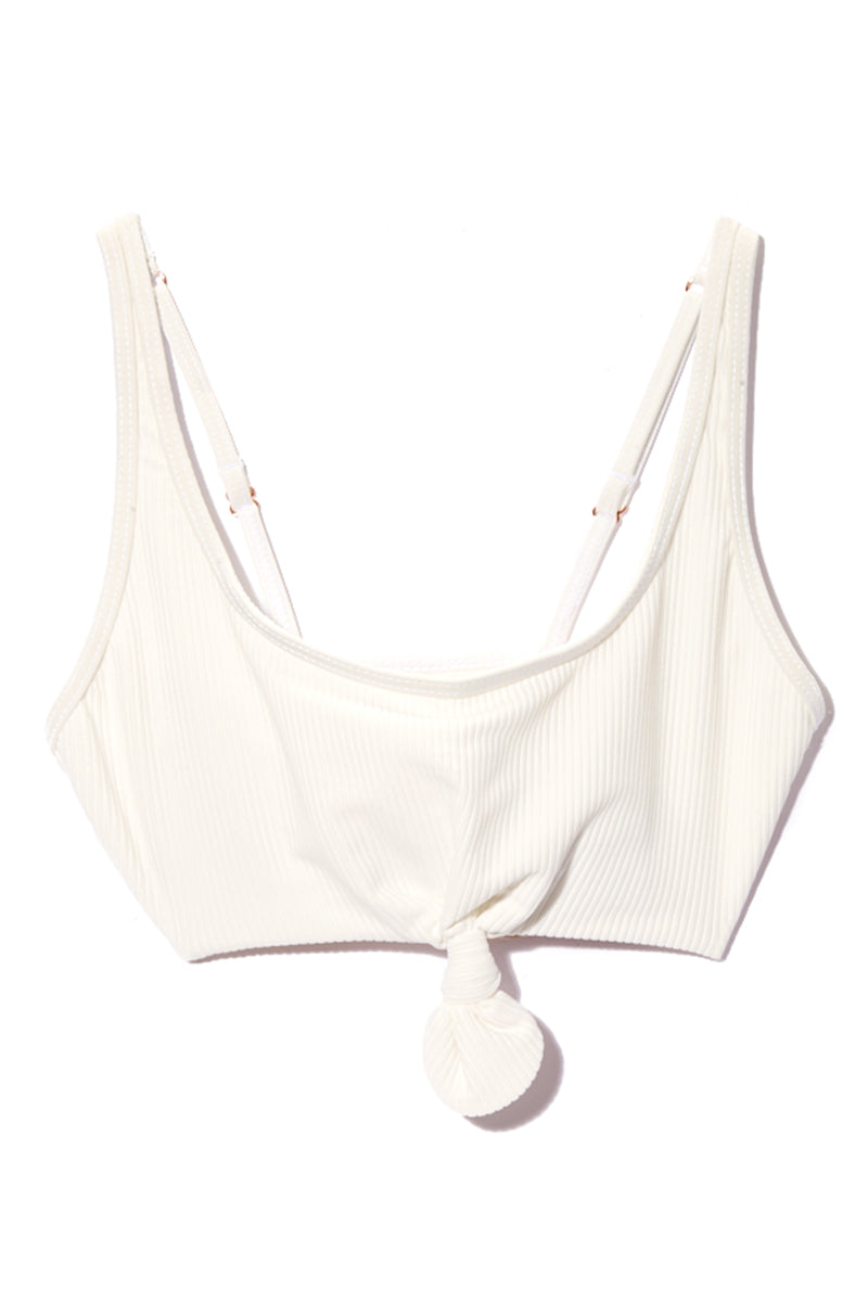 FRANKIES BIKINIS Greer Bikini Top - White Bikini Top   White  Frankies Bikinis Greer Bikini Top - White Flat Lay All White Sporty Bikini Top Luxe Ribbed Stretch Fit Fabric Front Knot Tie Detail Wide Shoulder Straps Adjustable Straps Wide Back Band As Seen on Alessandra Ambrosio