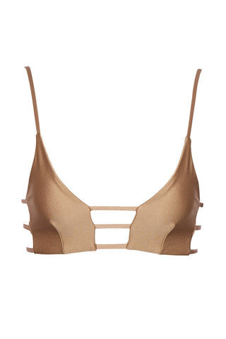 MONTCE SWIM Cage Strappy Cut Out Bikini Top - Dark Sand Brown Bikini Top | Dark Sand Brown| Montce Swim Cage Strappy Cut Out Bikini Top - Dark Sand Brown. Features: strappy front cut outs. Front boning for support.Front View
