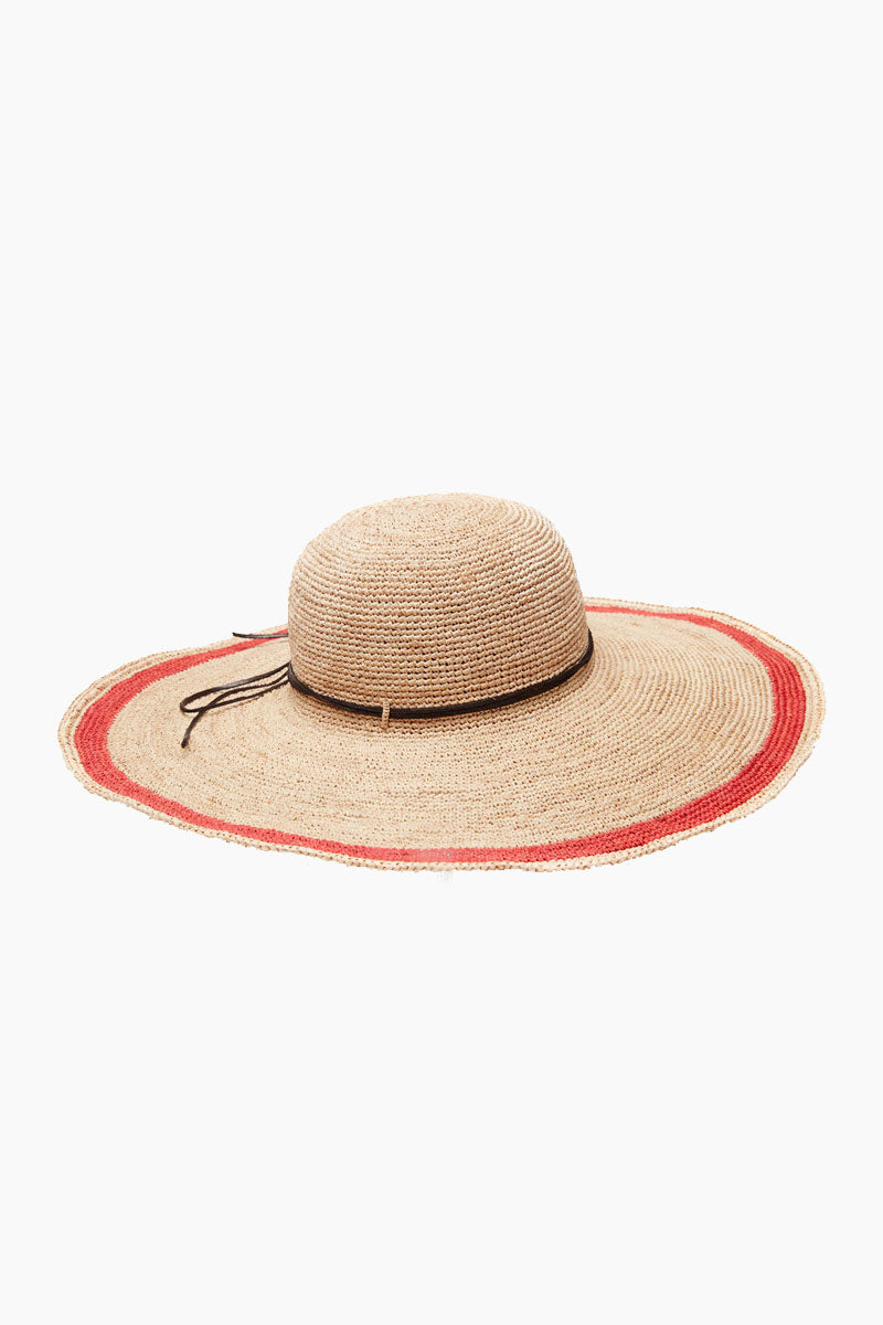 MAR Y SOL Tori Crocheted Raffia Sun Hat With Leather Trim & Cotton Sweatband - Coral Hat | Coral| MAR Y SOL Tori Crocheted Raffia Sun Hat With Leather Trim & Cotton Sweatband Front View
