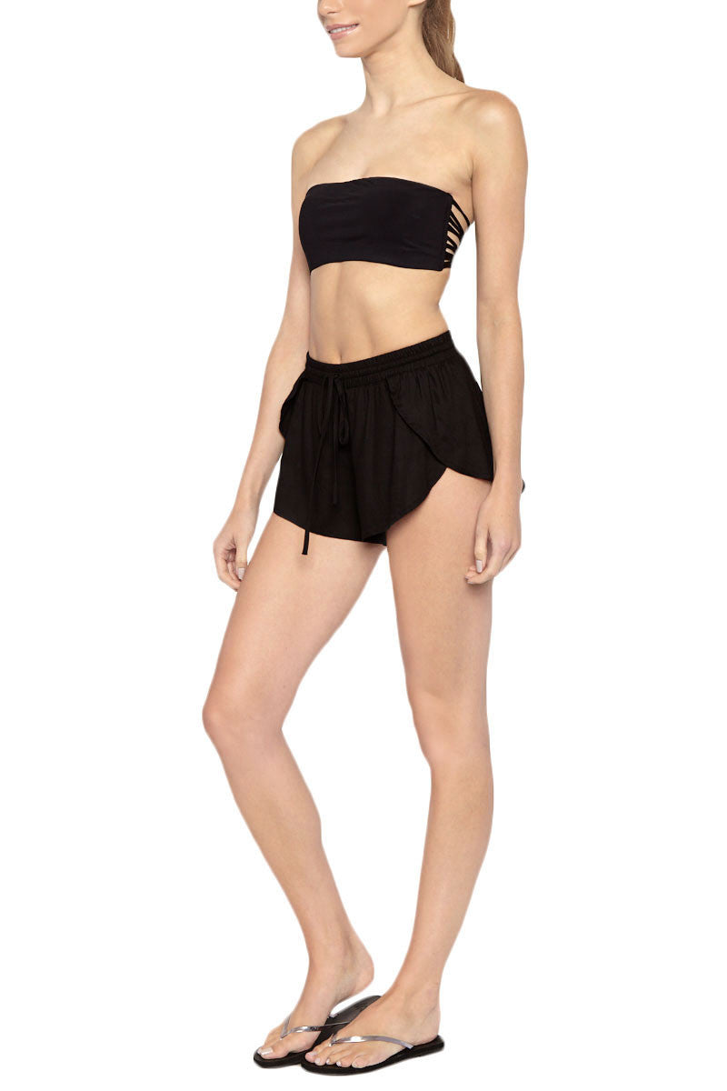 TORI PRAVER Delia Drawstring Shorts - Black Shorts | Black| Tori Praver Delia Drawstring Shorts - Black Elastic drawstring waist Petal side opening 100% Rayon Side View