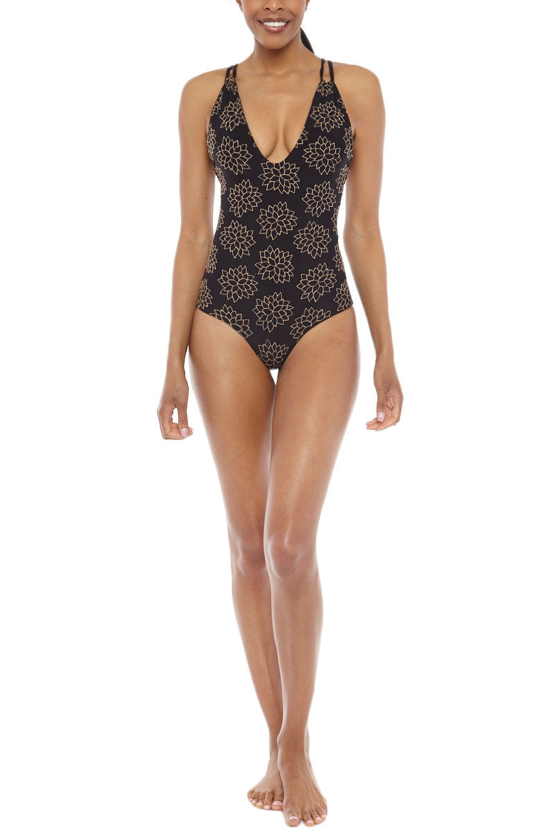 TORI PRAVER Elena Embroidered Tank Maillot One Piece Swimsuit - Storm Black One Piece | Storm Black| Tori Praver Tori Praver Elena Embroidered Tank Maillot One Piece Swimsuit - Storm Black V neckline  Adjustable shoulder straps Embroidered detail Mid-rise Back 80% Nylon, 20% Lycra Front View