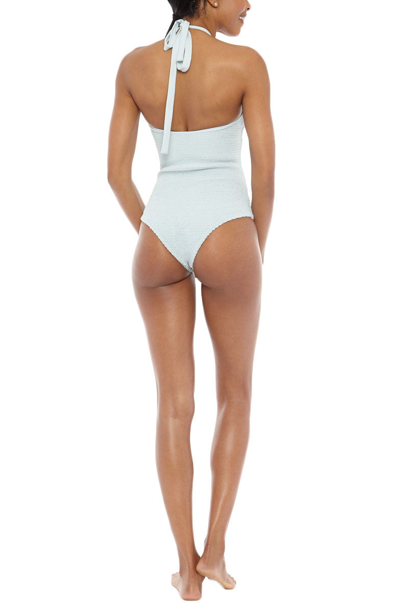 TORI PRAVER Magnolia High Neck Cut Out One Piece Swimsuit - Sage Green One Piece | Sage Green| Tori Praver Magnolia High Neck Cut Out One Piece Swimsuit - Sage Green High neckline with cut out detail Ties at neck Moderate to full coverage 80% Nylon, 20% Spandex Back View