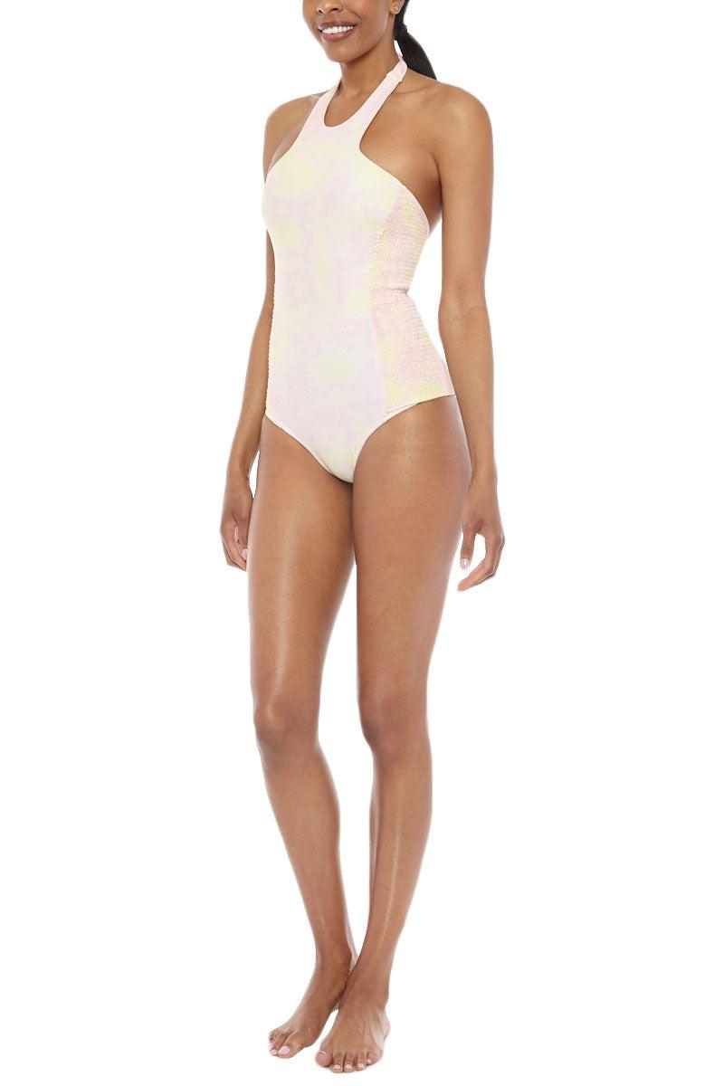 79bd018ab27c49 ... TORI PRAVER Rosarito Smocked High Neck One Piece Swimsuit - Shorebreak  Pink & Lilikoi Yellow Tie ...