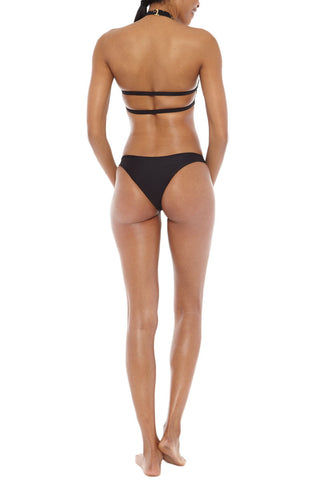 TORI PRAVER Chiara Embroidered Cheeky Bikini Bottom - Storm Black Bikini Bottom | Storm Black| Tori Praver Chiara Embroidered Cheeky Bikini Bottom - Storm Black Low rise  Cheeky coverage Embroidered detail at the front 80% Nylon, 20% Lycra  Back View