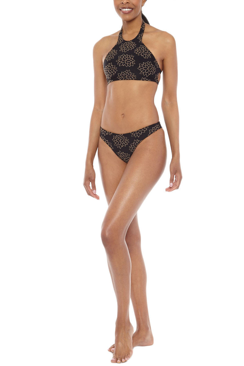 TORI PRAVER Chiara Embroidered Cheeky Bikini Bottom - Storm Black Bikini Bottom | Storm Black| Tori Praver Chiara Embroidered Cheeky Bikini Bottom - Storm Black Low rise  Cheeky coverage Embroidered detail at the front 80% Nylon, 20% Lycra  Front View