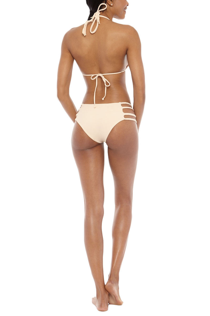 TORI PRAVER Shyla Braided Triangle Bikini Top - Naked Tan Bikini Top | Naked Tan| Tori Praver Shyla Braided Triangle Bikini Top - Naked Tan Adjustablet triangle top Braided neck tie Nude color Tassel ends 80% Nylon, 20% Spandex  Hand wash Back View