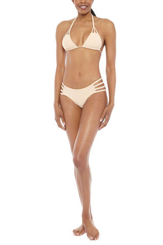 TORI PRAVER Shyla Braided Strappy Sides Bikini Bottom - Naked Tan Bikini Bottom | Naked Tan| Tori Praver Shyla Braided Strappy Sides Bikini Bottom - Naked Tan Moderate coverage  Strappy Braided sides 80% Nylon, 20% Spandex  Hand wash Front View