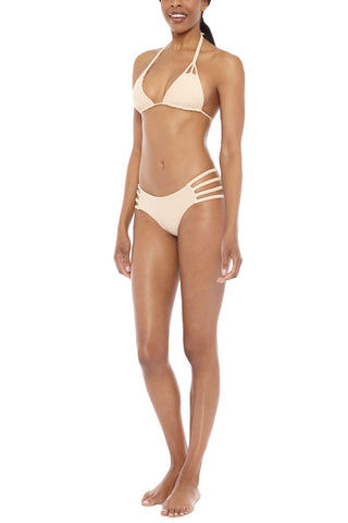 TORI PRAVER Shyla Braided Triangle Bikini Top - Naked Tan Bikini Top | Naked Tan| Tori Praver Shyla Braided Triangle Bikini Top - Naked Tan Adjustablet triangle top Braided neck tie Nude color Tassel ends 80% Nylon, 20% Spandex  Hand wash Side View