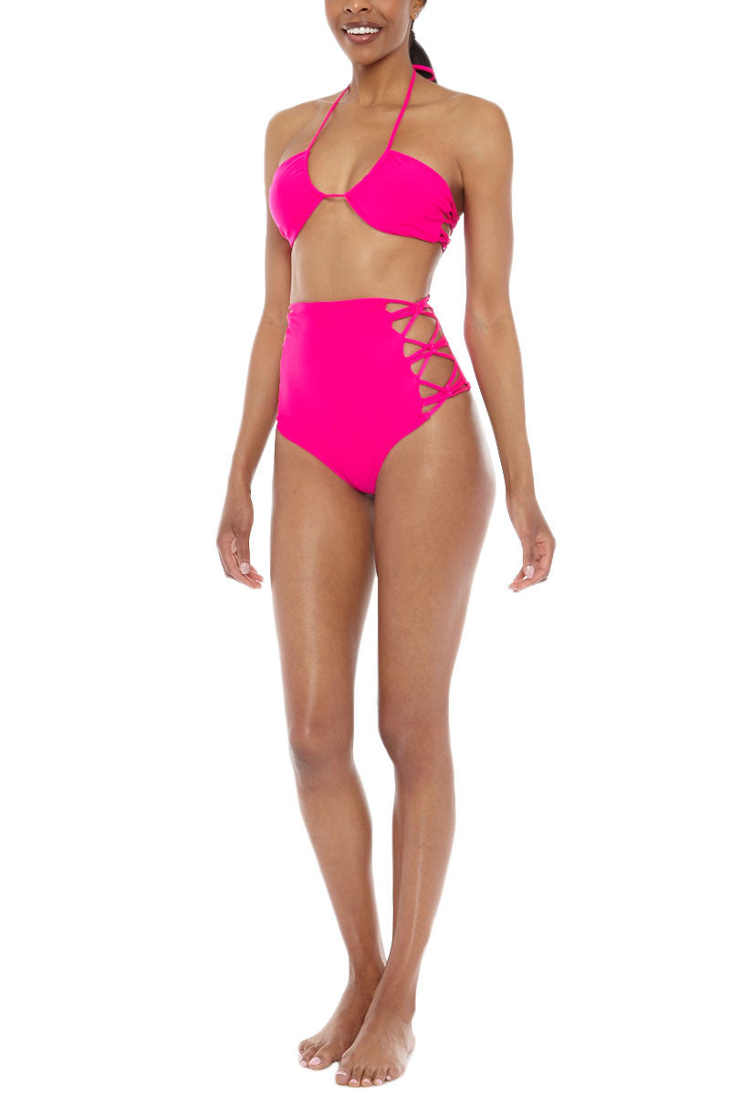 TORI PRAVER Lotus High Waist Cut Out Sides Bikini Bottom - Pitaya Pink Bikini Bottom | Pitaya Pink| Tori Praver Lotus High Waist Cut Out Sides Bikini Bottom - Pitaya Pink Magenta High Waisted Bottom Cut out side strings Moderate Coverage 80% Nylon, 20% Spandex Front View