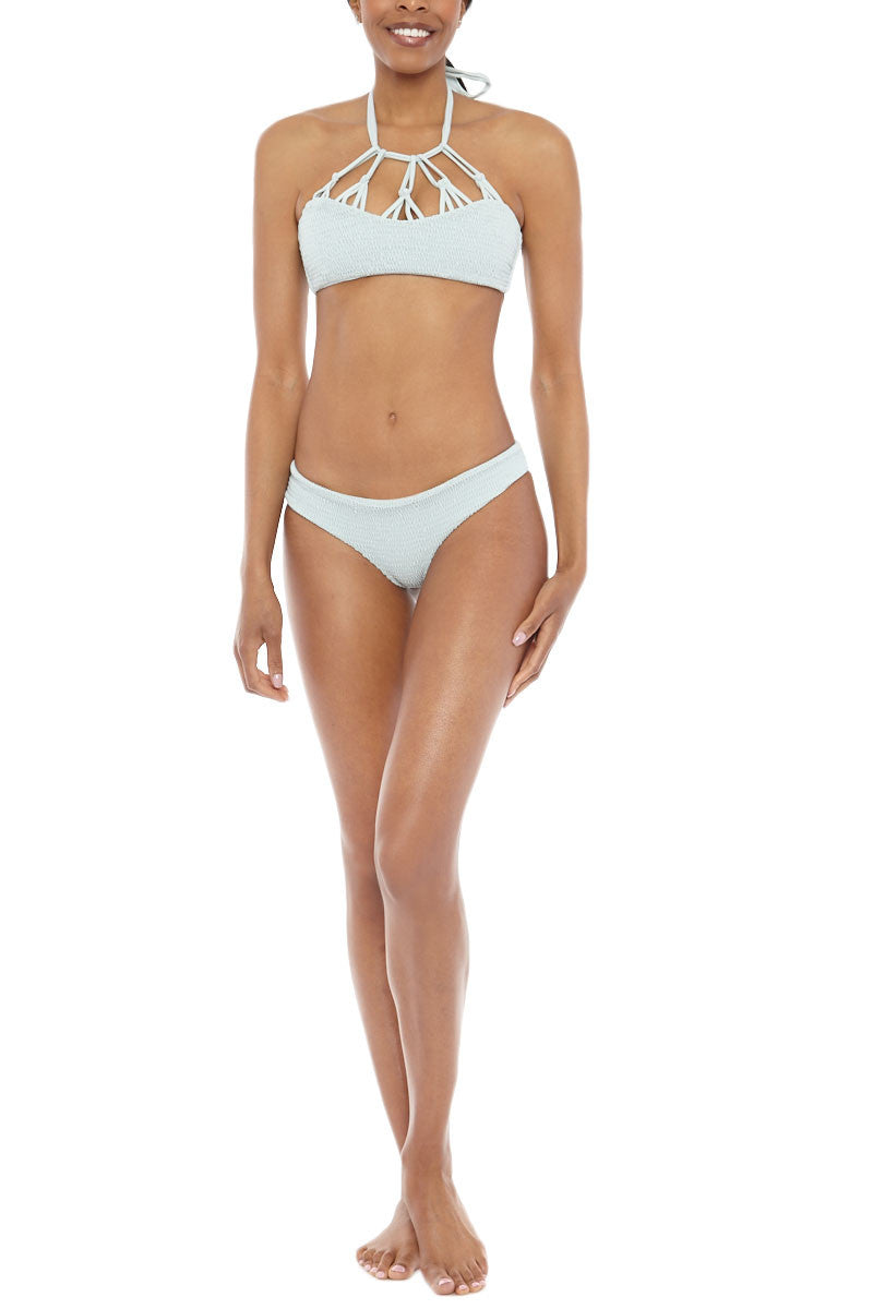 TORI PRAVER Saffron Smocked High Neck Bikini Top - Sage Green Bikini Top | Sage Green|Tori Praver Saffron Smocked  High Neck Bikini Top - Sage Green Classic halter with bust and neck detail Ties in back 80% Nylon, 20% Spandex Front View