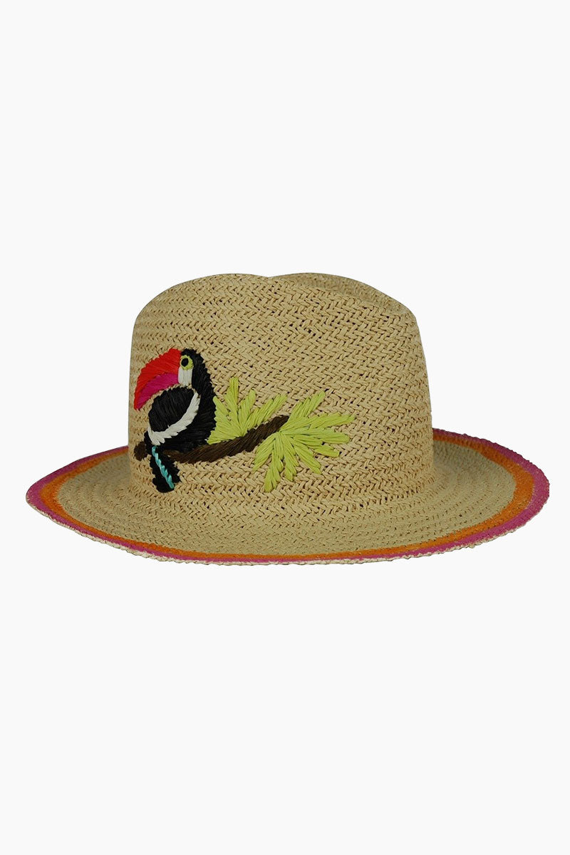 HAT ATTACK Toucan Embroidered Straw Fedora Hat - Natural Hat | Natural| Hat Attack Toucan Fedora Hat - Natural Features:  Woven straw toucan motif. Floppy brim with striped edge. Interior sweatband for added comfort. 100% straw. Spot clean Front view